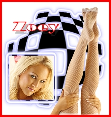 Zoey. . .Blonde, beautiful, sensual and sweet.  Want to wear Zoey's fishnets?